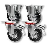 Transportrollen, Schwerlastrollen 4 Stück im Set / 2x Bockrolle & 2x Lenkrolle mit Bremse / 75mm bis 200mm Durchmesser / Größe: 125mm