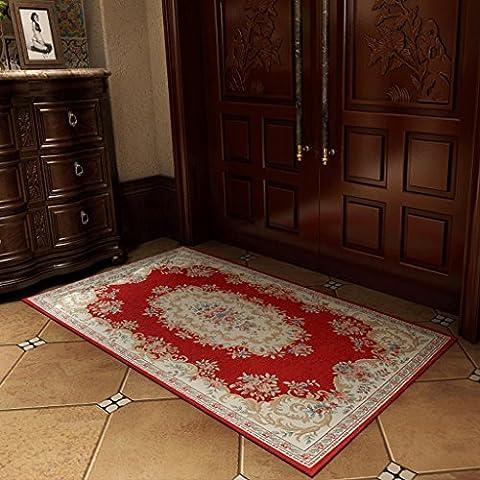 LOFAMI Matelas en cuir classique de luxe en coton à la broderie rose, tapis, cuisine de salle de bain avec tapis d'eau, recoins de salon de chambre à coucher ( Color : B , Size : 70*140cm )