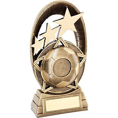 Cannon Collectables BRZ/Gold Fußball-Trophäe mit Tri-Star-Motiv, oval, 2,5 cm in der Mitte, 18 cm