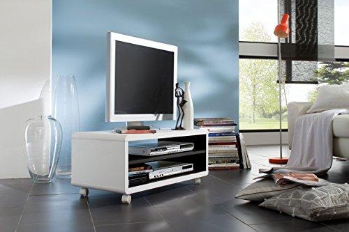 JAAP 7 TV-Lowboard, Material MDF, Weiss/innen schwarz mit Rollen (Weiß Tv-wagen)