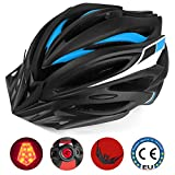 Leadfas Cycle/Bike Helmet, Casco per bicicletta leggero certificato CE con luce di sicurezza a LED Visiera e fodera staccabile per uomini e donne Protezione di sicurezza
