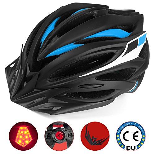 Leadfas Casco bici, Casco da Bicicletta Specialized Casco di sicurezza certificato CE regolabile con luce LED Visiera staccabile per uomini e donne