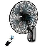 Ventilatore da Parete Oscillante Oscillazione 41.5cm con Telecomando e Timer/Silenzioso / 3 velocità / 3 modalità Vento / 60 W/Nero