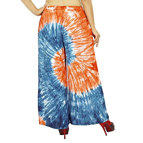 Pantalons Viscose Harem Boho Gypsy Pantalon Ample Pantalons Plage Pyjamas Bleu
