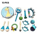 Yissma 13 Stücke Spielzeug Kinder Rassel Handglocken Tamburin Set Baby Musikinstrumente Trommel Lernspielzeug für Baby Kinder