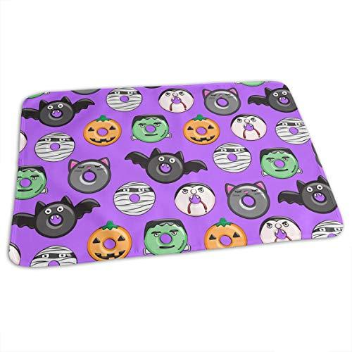 Halloween Donut Medley Purple Pumpkin Frankenstein Baby Toddler Waterproof Washable Diaper Portable Reusable Changing Pad Mat 27.5 x19.7 Inch
