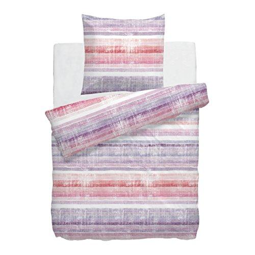 HNL Parure de lit en satin de coton mako IZA 135 x 200 cm lilas