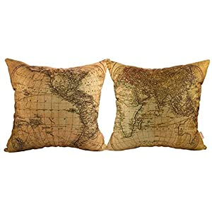 Luxbon 2 Funda Cojin Almohada Lino Duradero Mapa del Mundo Decoración para Sofá Cama Coche 45×45 cm