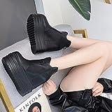 GTVERNH-martin stiefel erhöhte hochhackige stiefel und schuhe passen dicksohlige alle britischen frauen einzel runde flut34 schwarz