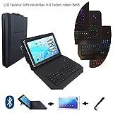 3er Starter Set für Denver TAQ-10182 LED Qwertz Tastatur Tablet Tasche + Stylus Pen + Schutzfolie - Schwarz LT1