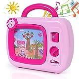 SGILE Mini Baby Musik TV Spielzeug, TV Fernseher mit Musik und bewegten Bildern, Musikbox Spielzeug mit Animation auf dem Bildschirm, geeignet für Kinder ab 18 Monate, Geschenk Rosa