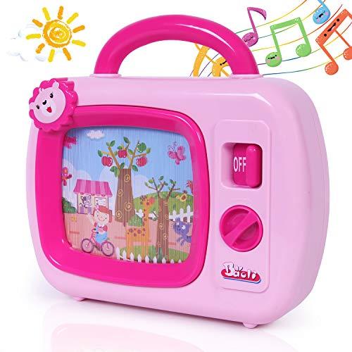 k TV Spielzeug, TV Fernseher mit Musik und bewegten Bildern, Musikbox Spielzeug mit Animation auf dem Bildschirm, geeignet für Kinder ab 18 Monate, Geschenk Rosa ()