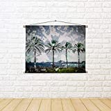 ArtzFolio Palm Trees Along Coast In Palma De Mallorca, Spain D2 Canvas Painting Tapestry Scroll Art Hanging 16.4 X 12Inch