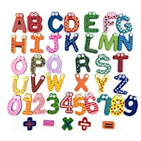 Ymwave 41 Pcs Fridge Magnets Wooden Refrigerator Magnetic Kids Educational Toys Numbers 26pcs A-Z Alphabet and 15pcs Numbers