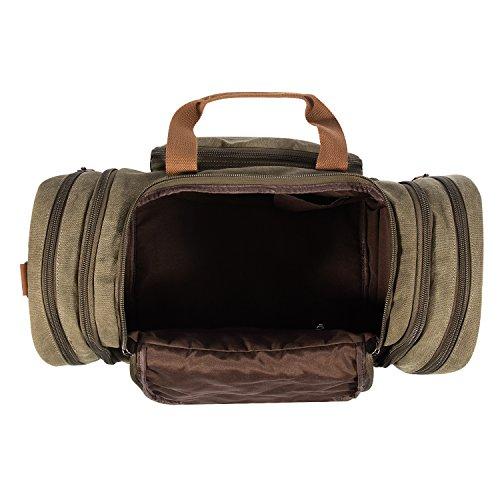 Plambag Segeltuch Unisex Handgepäck Reisetasche Sporttasche Größere Version Laptop Weekend Urlaub Tasche 50 Liter Updated (Grau) Armee Grün
