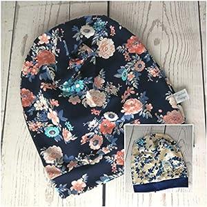 Baby Kinder Beanie Mütze Blüten Mädchen KU 34-54 cm handmade Puschel-Design