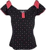 Küstenluder Damen Oberteil Cecile Anker Rockabilly Shirt Schwarz M