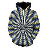 Xmiral Hoodies Herren Sweatshirt 3D Digital Vortex Printed Langarm mit Kapuze Oberseiten-Bluse (L,E)