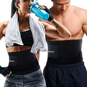 FitPick Sweat Slim Belt for Women|Men, Body Shaper Slimming| Waist Trimmer Belt - Includes Carry Bag