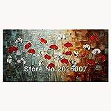 Hohe Qualität handbemalt Landschaft abstrakt Palette grauen Hintergrund rot Tulip House Wand gemalt Wohnzimmer Kunst, canvas, rot, 32x64inch(80x160cm)