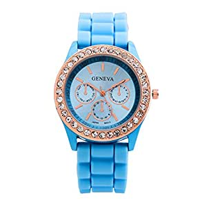 Fashion Silicone Golden Crystal Stone Quartz Ladies Jelly Wrist Watch Light Blue