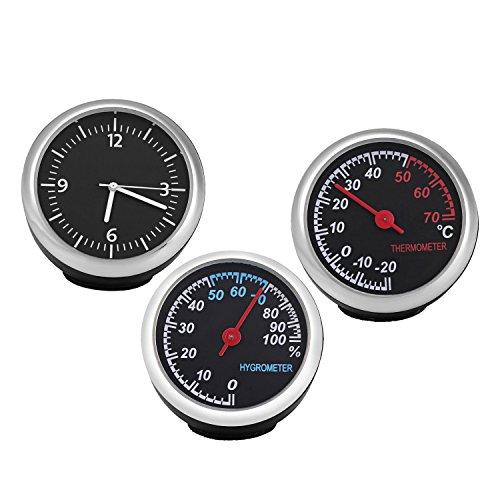 MuZuZi 3Pcs Auto Hygrometer Zeit Uhr Temperatur Thermometer Meter