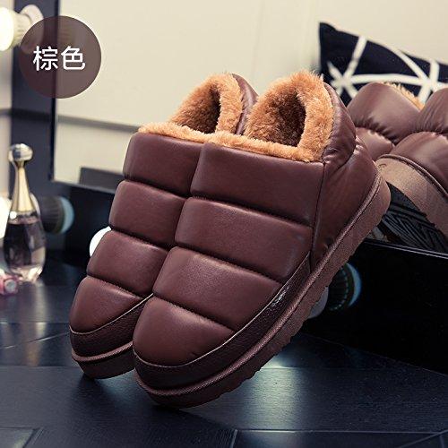 DogHaccd pantofole,Inverno in pelle nero superiore pacchetto con cotone femmina pantofole home soggiorno indoor e gli amanti della vita all'aperto caldo antiscivolo in cotone impermeabile scarpe masch Brown4