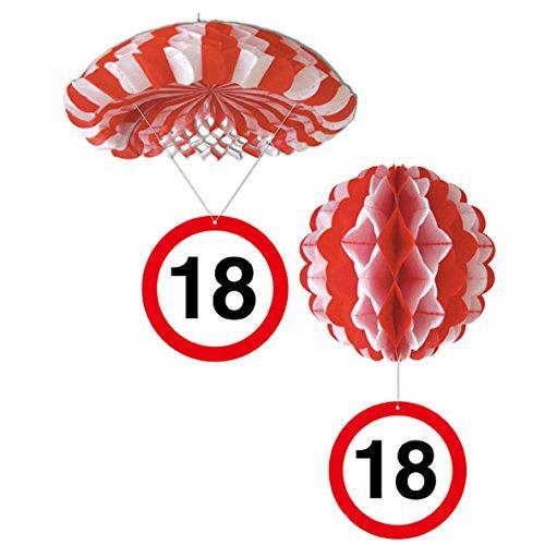 Sortiert 1 Deko Ballon oder 1 Deko Fallschirm mit Schild 18. Geburtstag
