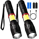 MaxTeck 2 PCS Flashlight LED Torch Military Ultrahigh Bright Handy Lite with Battery