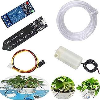 RUNCCI-YUN Sistema de Riego Automático DIY Kit para Arduino, 1 Canal 5V Relé Módulo + Sensor de Humedad del Suelo + Mini Bomba de Agua DC 3V 5V + 1M Tubería de Agua de PVC para Jardín Plantas Flor