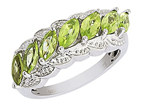 Banithani 925 Solid Silver Peridot Gemstone Indian Women Finger Ring Band Formal Jewellery