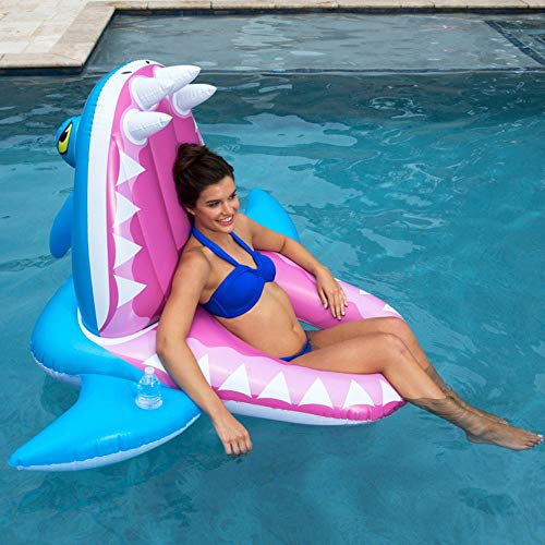 de-ons Shark Lounge Chair Wasser Schwimmende Insel PVC Wasserspielzeug Falten Schwimmbett Farbe Pool Rafts Liege Strand Schwimmbad Seaside Party (Color : Blue) ()