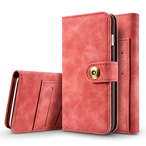 iPhone 7 Plus Hülle, iPhone 7 Plus Schutzhülle Leder Hülle, Alfort 2 in 1 Retro Ledertasche Design Dual Use Falten Premium PU Leder Tasche Kartenfach Case Cover Flip Mappen Kasten Abdeckung für Apple iPhone 7 Plus 5.5