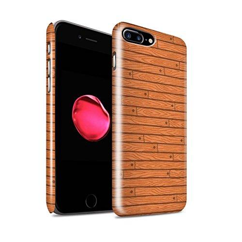 STUFF4 Glanz Snap-On Hülle / Case für Apple iPhone 8 Plus / Beige Muster / Holz-Muster Kollektion Orange