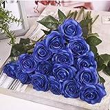 RYcoexs 10 Têtes Artificielle Latex Rose Fleurs De Noce Bureau Bureau Table Bouquet Décor Blue