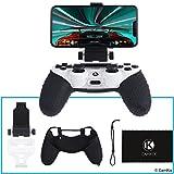 Camkix® Soporte para teléfono y Funda de silicón para Control PS4 - Ideal para Juegos remotos PS4/ Juegos móviles - Ángulo de visión Ajustable, Ajuste, máxima Comodidad y Agarre