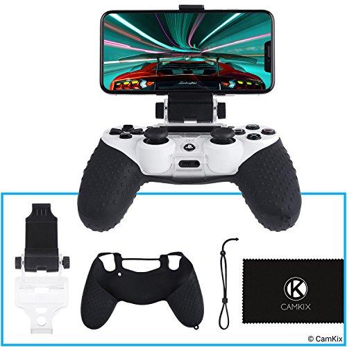 Telefonhalterung und Silikonhülle für PS4 Controller - Ideal für PS4 Remote Play / Mobile Gaming - Einstellbarer Betrachtungswinkel - Perfekte Passform Grip