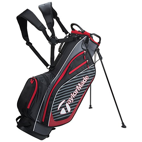 TAYLORMADE 2018 PRO 6.0 DUAL CARRY STRAP GOLF CARRY STAND PLUS 10 FREE Golfmad iron Covers (Black / Red)