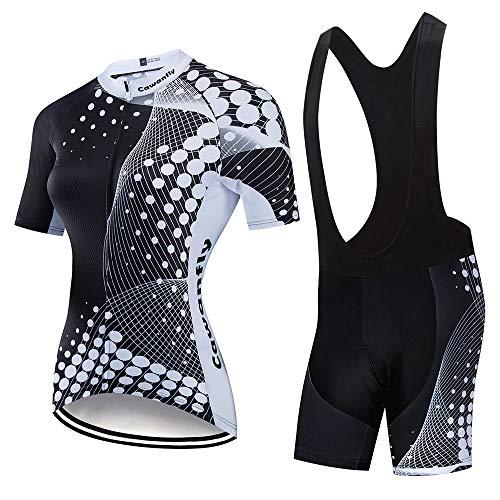 YDJGY Damen Radtrikot Set Schnelltrocknend Fahrradbekleidung Radsportbekleidung Atmungsaktiv Mountainbike Fahrradbekleidung Anzug
