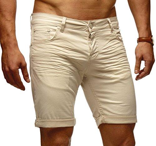 LEIF NELSON Herren Jeans Shorts LN1398; W34; Beige -