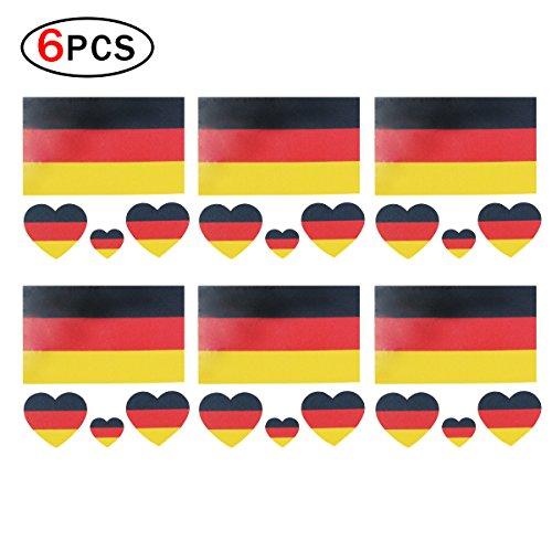 towierung Nationalflaggen WM 2018 für Körper und Gesicht Deutschland Flagge Aufkleber für Fußballfans 6 Stück ()