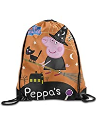 DHNKW Drawstring Backpack Bag Peppa Pig Peppas Halloween Polyester Home Travel Sport Storage