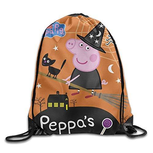 DHNKW Drawstring Backpack Bag Peppa Pig Peppas Halloween Nylon Home Travel Sport Storage (Pigs Peppa Halloween)