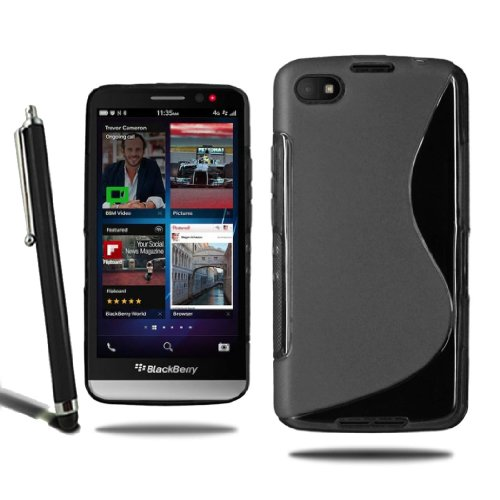 Blackberry Z30 Grip S Line Wave Silicone Gel Skin Case Cover + Screen Protector + Stylus (Black)