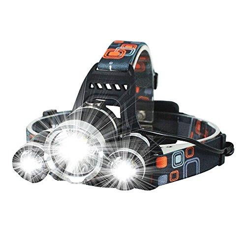 Lanlan für Camping Jagd Wandern Reiten zoombaren Taschenlampe HEAD Taschenlampe Fishing Licht Scheinwerfer mit 2* 18650Akku Wand/Kfz-Ladegerät USB-Kabel 3000LM 3x CREE XM-L T6LED Scheinwerfer