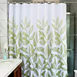 Shower Curtain Rod for Clawfoot Tub MangGou Leaves Fabric Shower Curtain,Waterproof Polyester Bathroom Curtain,Decorative Shower Curtain liner With 12 Hooks,Mildew resistant,Machine Washable,72 x 72 inch ,Green