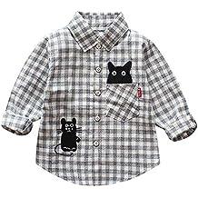 LANSKIRT Ropa para Recién Nacido Infantil bebé niños Camisa de Cuadros a Cuadros de Manga Larga