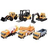deAO Camiones de Construcción Coleccionables a Pequeña Escala 1:64 Juguetes de Colección con Diseño Realista (Pack de 6)