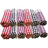 Home Creations Pack Of 12 Pcs Cotton Kitchen Napkin/Kitchen Towel/Roti Cover (18 * 18 Inch) Assorted Color (12, 18 X 18)