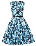 50s Rockabilly Kleid Retro Vintage Military Camouflage Kleid Festliches Kleid Blau S CL6086-55